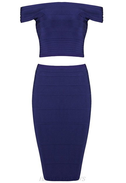 Herve Leger Blue Bardot Two Piece Dress