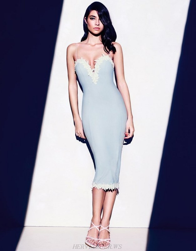 Herve Leger Blue And White V Neck Crochet Applique Dress