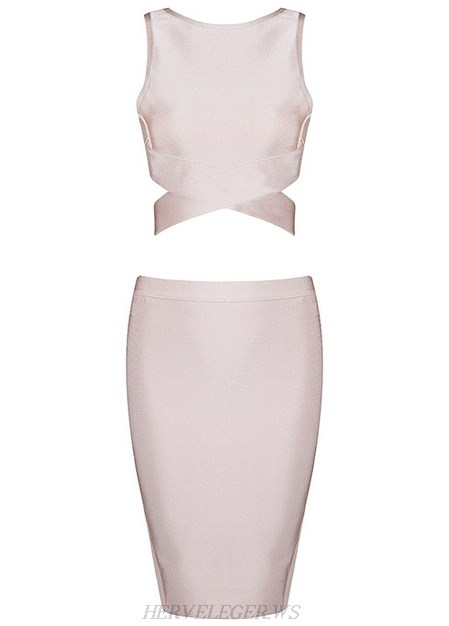 Herve Leger Nude Crossed Detail Two Piece Dress