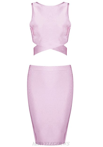 Herve Leger Pink Crossed Detail Two Piece Dress