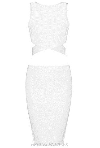 Herve Leger White Crossed Detail Two Piece Dress