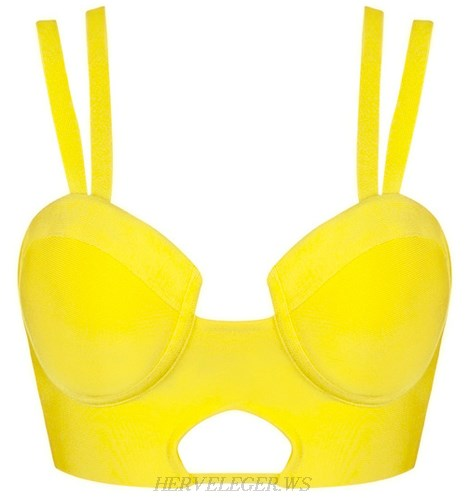 Herve Leger Yellow Double Strap Cut Out Bustier