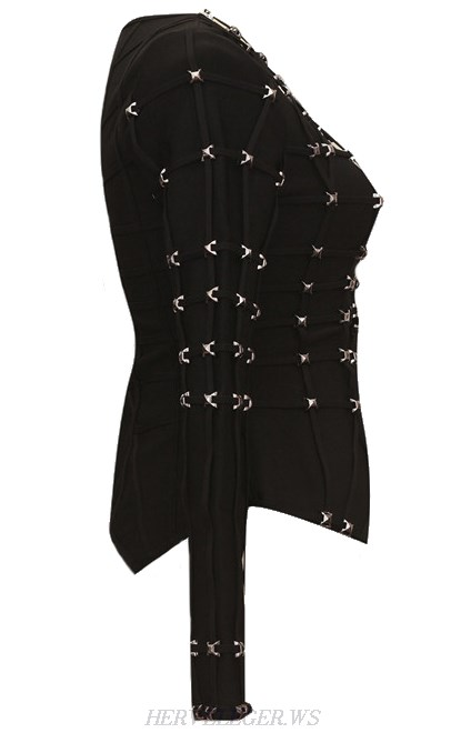 Herve Leger Black Embellished Jacket