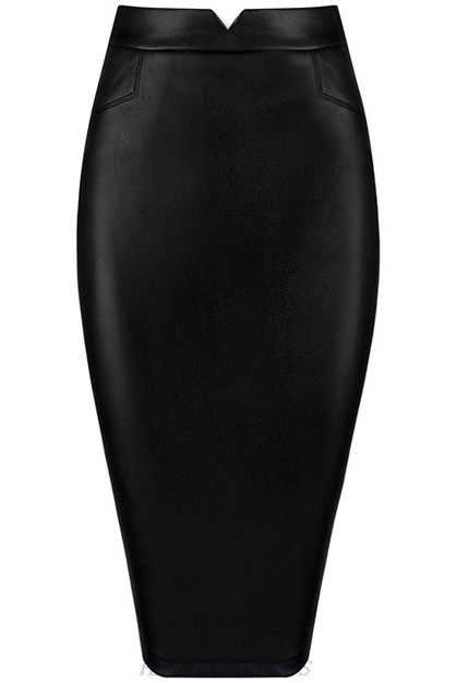 Herve Leger Black Faux Leather Cutout Skirt