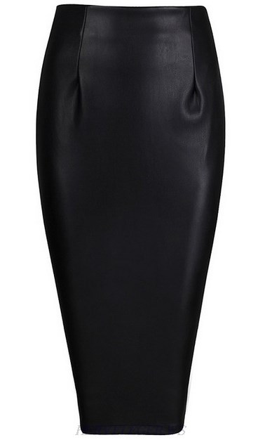 Herve Leger Black Faux Leather Skirt