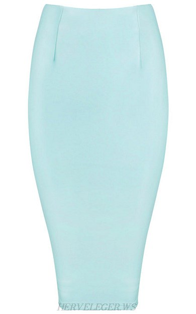 Herve Leger Light Blue Faux Leather Skirt