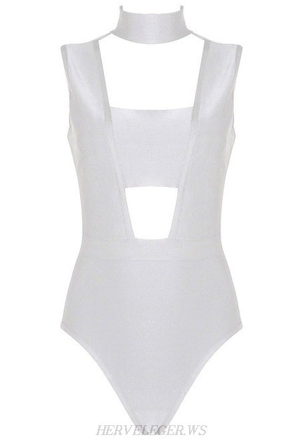 Herve Leger Rose Bertram White Halter Cut Out Bodysuit
