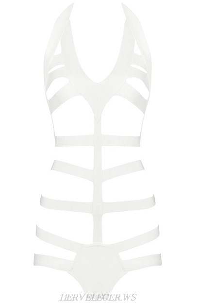 Herve Leger White V Neck Halter Fishbone Swimsuit