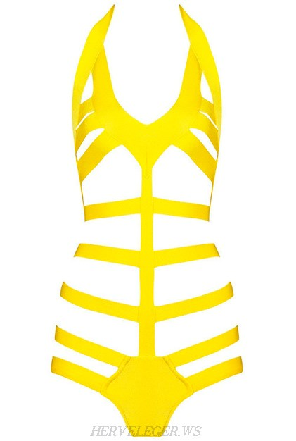 Herve Leger Yellow V Neck Halter Fishbone Swimsuit
