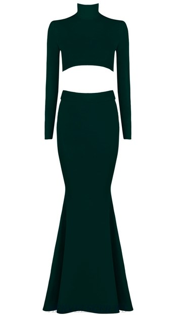 Herve Leger Green Long Sleeve Lace Up Mermaid Evening Dress