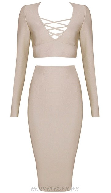 Herve Leger Nude Long Sleeve Lace Up Two Piece Dress