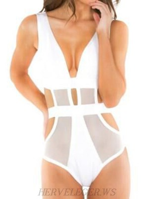 Herve Leger White Mesh Swimsuit
