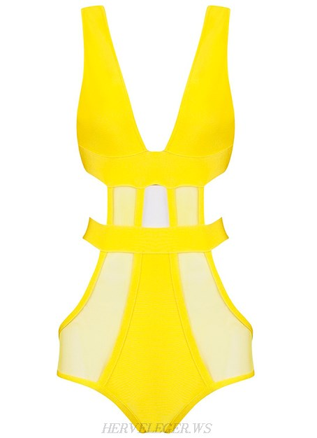 Herve Leger Yellow V Neck Mesh Swimsuit