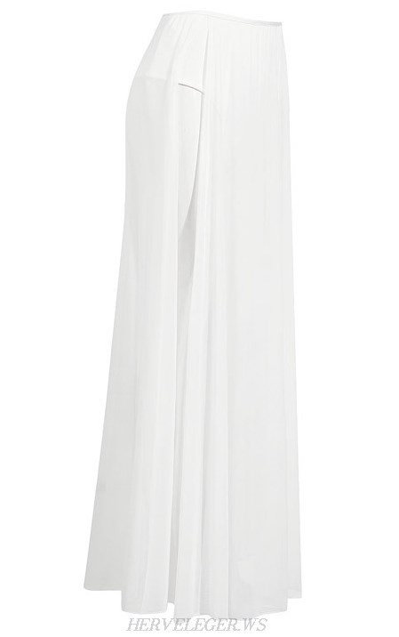 Herve Leger White Mesh Slit Skirt