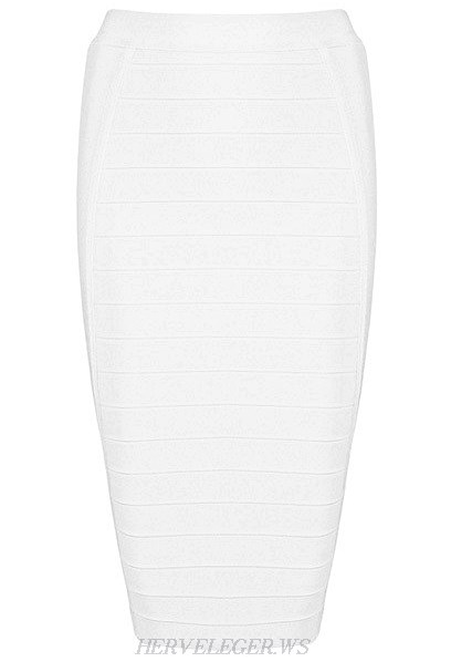 Herve Leger White Pencil Skirt