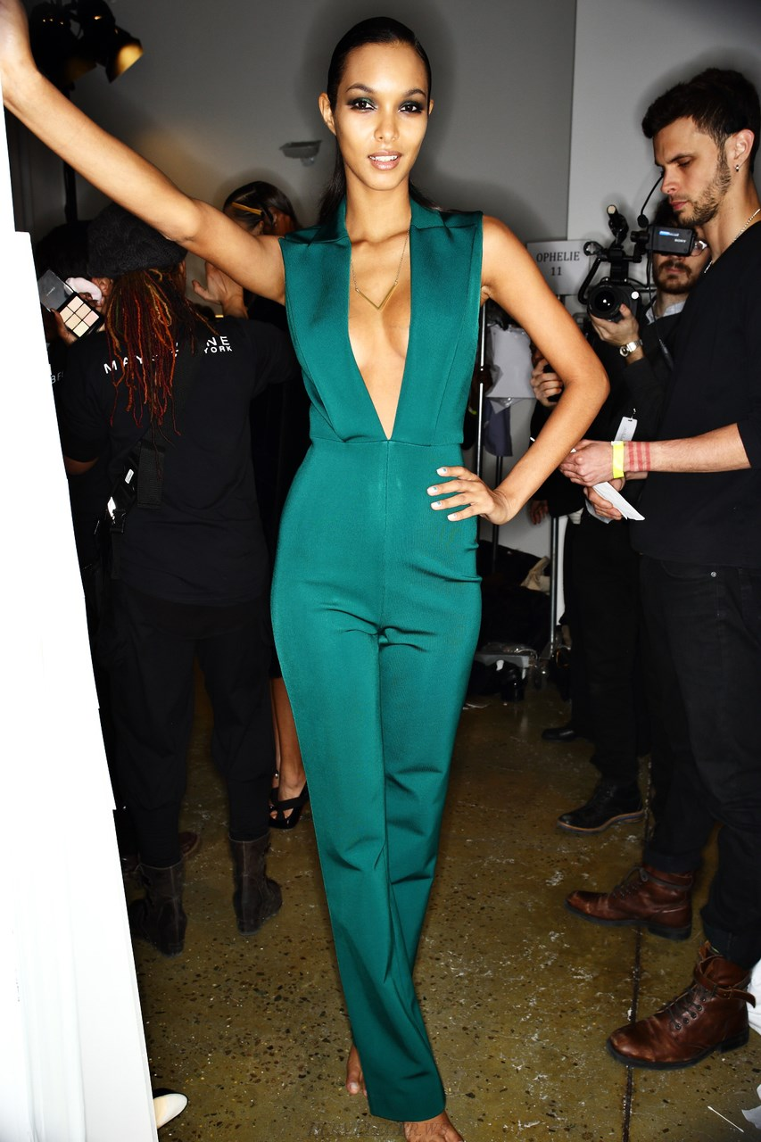 Herve Leger Green Plunge V Neck Jumpsuit