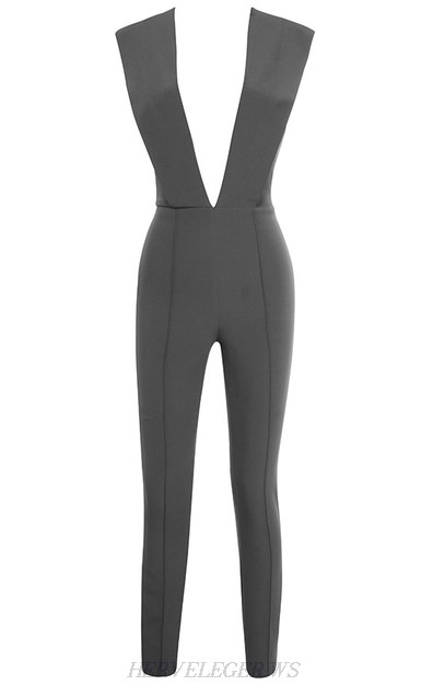 Herve Leger Grey Plunge V Neck Jumpsuit