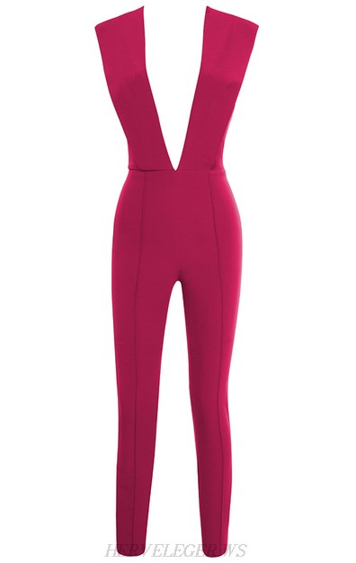 Herve Leger Hot Pink Plunge V Neck Jumpsuit