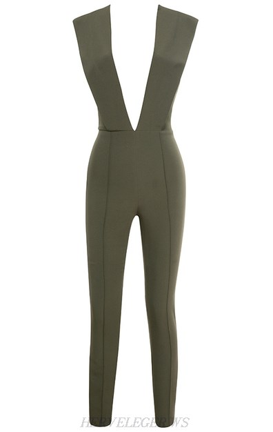 Herve Leger Olive Green Plunge V Neck Jumpsuit