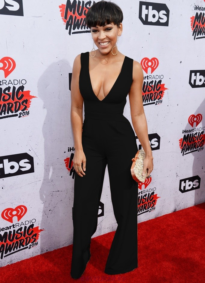 Herve Leger Meagan Good Black Plunge V Neck Wide Leg Jumpsuit