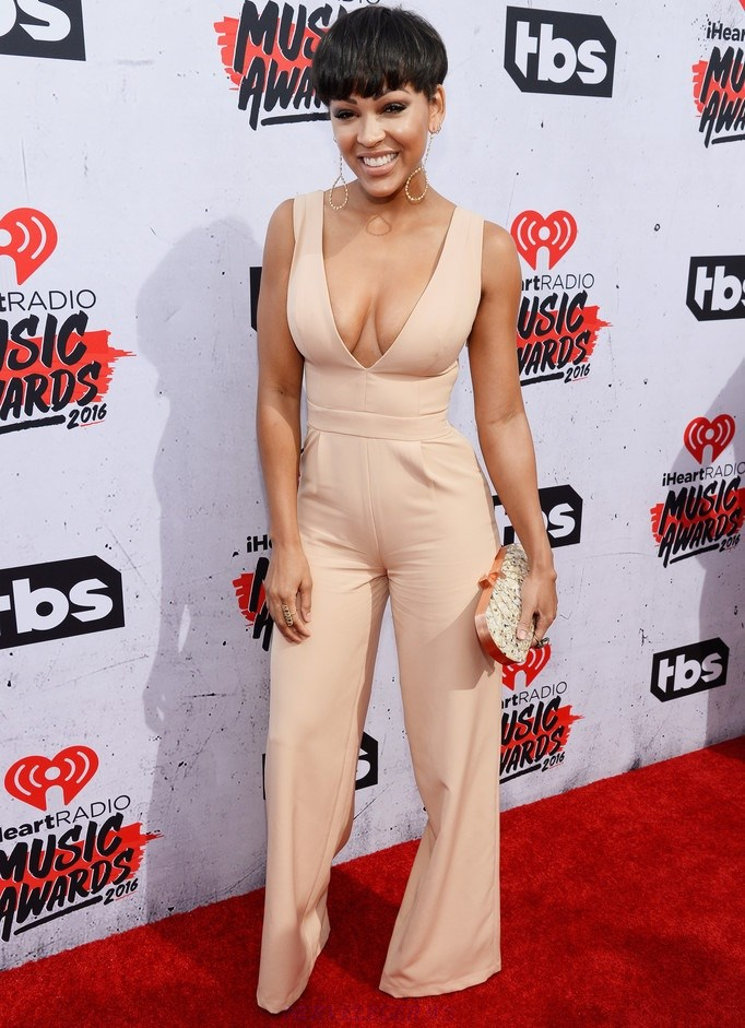 Herve Leger Meagan Good Nude Plunge V Neck Wide Leg Jumpsuit