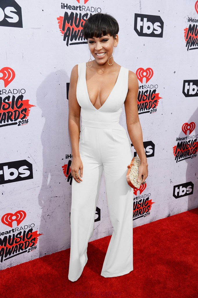 Herve Leger Meagan Good White Plunge V Neck Wide Leg Jumpsuit
