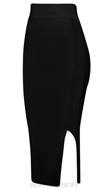 Herve Leger Black Side Slit Skirt