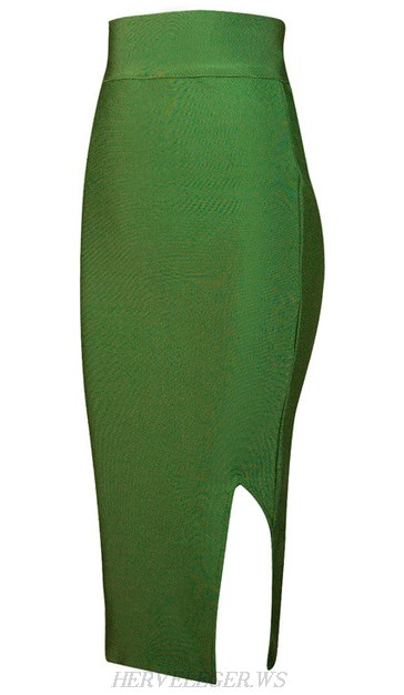 Herve Leger Green Side Slit Skirt