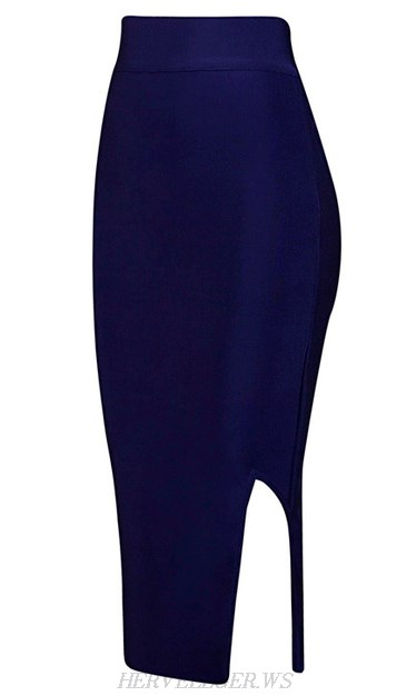Herve Leger Navy Blue Side Slit Skirt