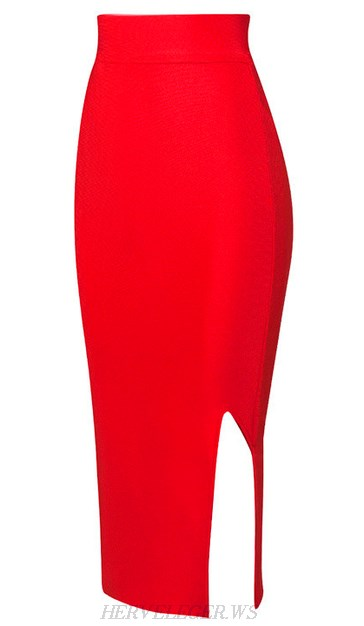 Herve Leger Red Side Slit Skirt