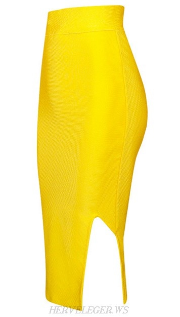 Herve Leger Yellow Side Slit Skirt