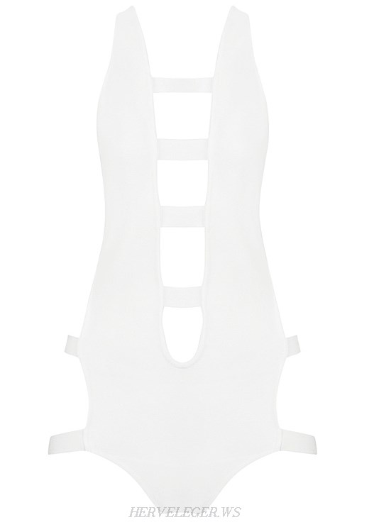 Herve Leger White Strappy Swimsuit