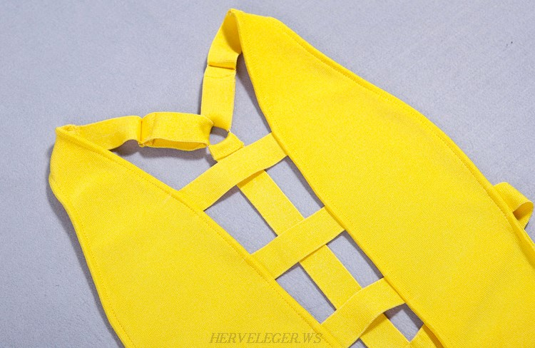 Herve Leger Yellow Strappy Swimsuit