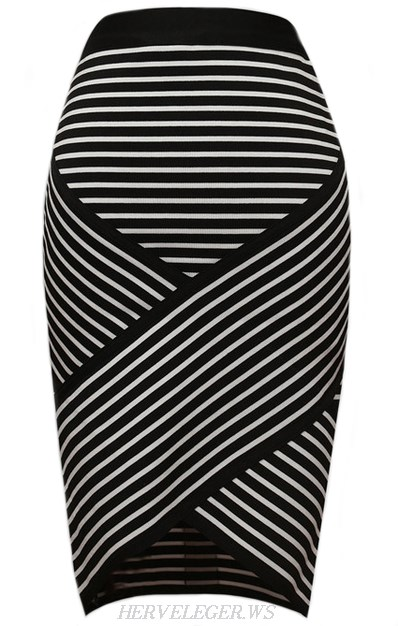 Herve Leger Striped Asymmetrical Skirt
