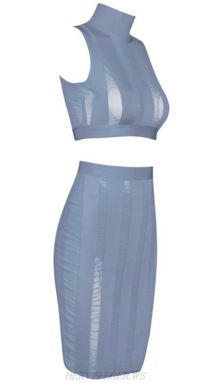 Herve Leger Grey Striped Mesh Two Piece Dress