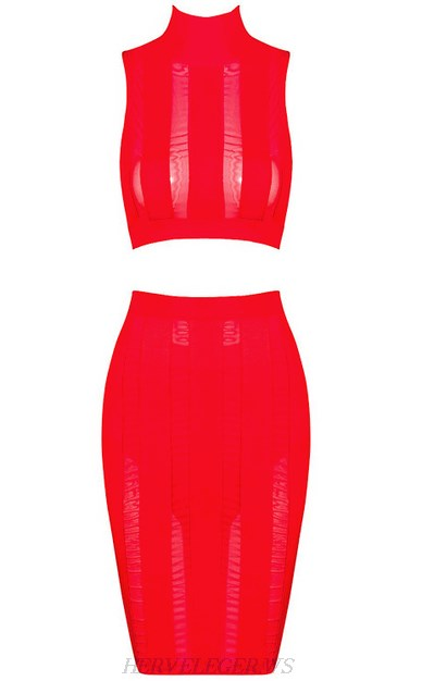 Herve Leger Red Striped Mesh Two Piece Dress