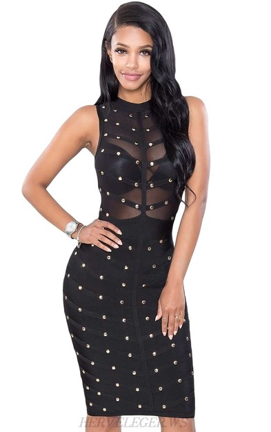 Herve Leger Black Studded Mesh Dress
