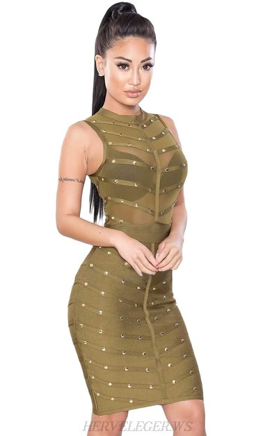 Herve Leger Green Studded Mesh Dress