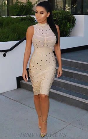 Herve Leger Nude Studded Mesh Dress