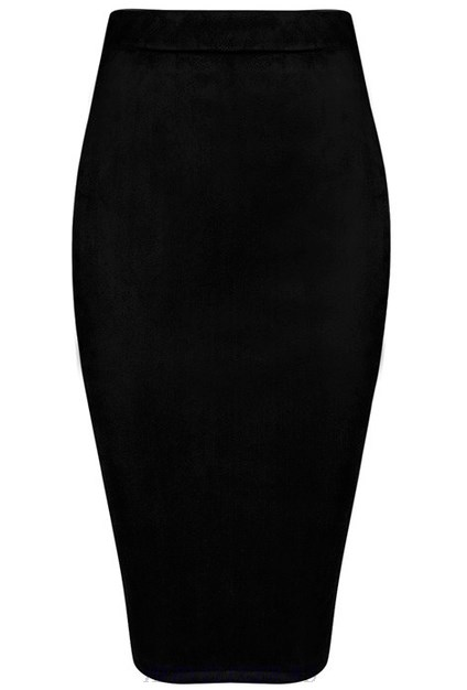 Herve Leger Black Suede Skirt