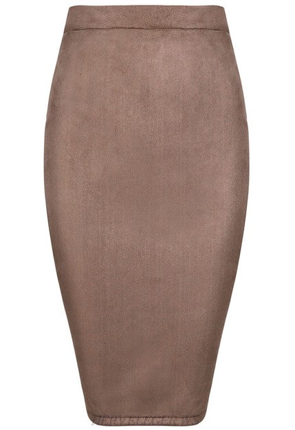 Herve Leger Taupe Suede Skirt