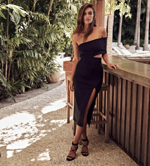 Herve Leger Black Asymmetrical Bardot Slit Dress