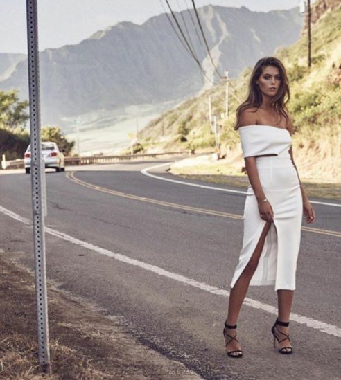 Herve Leger White Asymmetrical Bardot Slit Dress