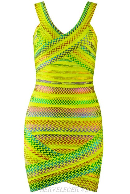 Herve Leger Yellow Backless Patterned Foil Dress