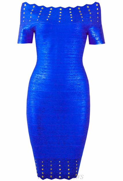 Herve Leger Blue Bardot Embellished Woodgrain Foil Print Dress