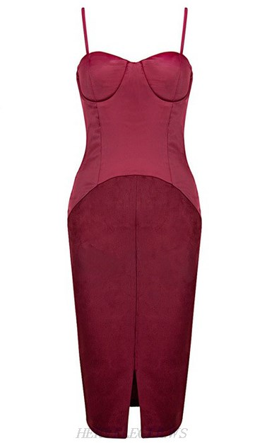 Herve Leger Red Bustier Satin Suede Dress