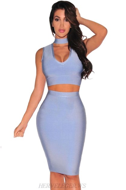 Herve Leger Blue Choker Detail Two Piece Dress