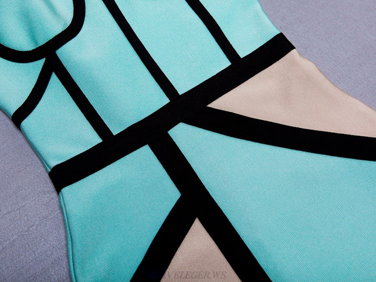 Herve Leger Turquoise And Grey Colorblock Asymmetrical Dress