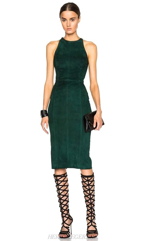 Herve Leger Green Cut Out Back Suedette Dress