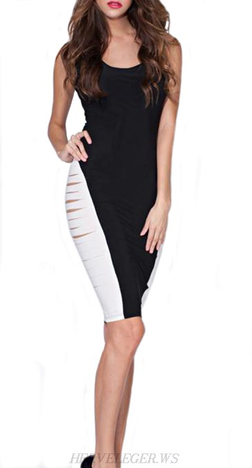 Herve Leger Black And White Cut Out Colorblock Dress